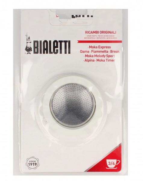 Bialetti - Blister 3 Dichtungen + 1 Filtersieb Aluminium 3/4 Tassen