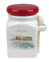 Les Sauniers de l'île de Ré - Topf für Fleur de Sel mit Deckel und Salzlöffel
